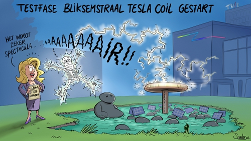 cartoon, curtoon, tueindhoven, universiteit, glow, festival, lichtkunst, teslacoil, eindhoven, bliksem, lightning