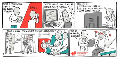 strip, stripverhaal, huisartsenpost, cartoon, illustratie, illustration, comic