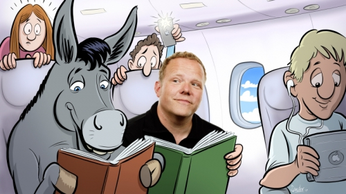 cartoon, illustratie, illustration, drawing, tueindhoven, ezel, vliegtuig, airplane, boeken, lezen
