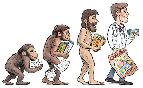 evolution, clinicalresearch, illustratie, illustration, cartoon, digitalart, madewithwacom